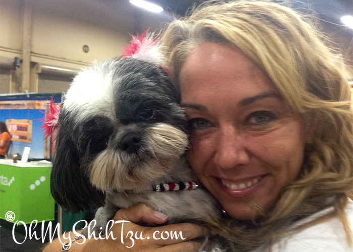 SuperZoo 2014 Riley the Shih Tzu with Dr. Karen Becker